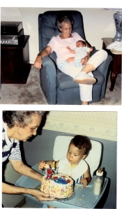 My maternal grandmother holding her newborn great-grandson in 1988. Presenting him with his first birthday cake on July 16, 1989.