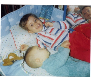 Jay age 2 & Baby Justin in Crib