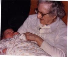 Grandma K close up with Baby Jay