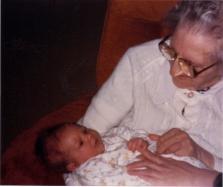Grandma K with close up of Baby Jay