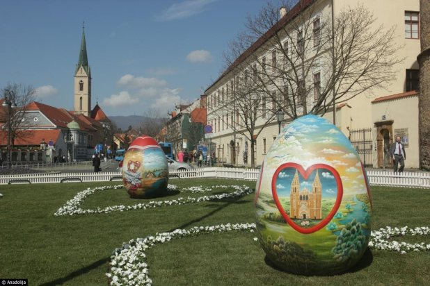 Giant hand-painted Easter Eggs exhibition  in front of the Zagreb Cathedral, Croatia