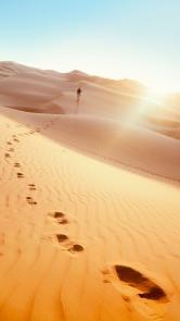 Man Footprints Desert Android Wallpaper