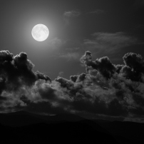 moon white with clouds