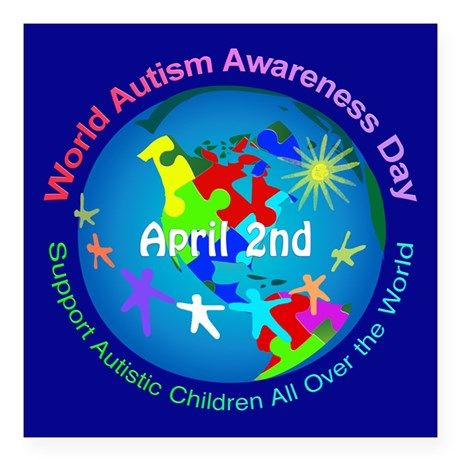 world_autism_awareness_day_square_sticker_3_x_3